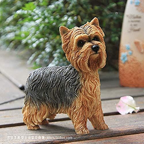 Ertyuk-Decor Statuen Dekoartikel & Figur Skulpturen Figuren Yorkshire Terrier Simulation Hundemodell Auto Dekoration Handwerk Home Collection Geschenk Stehhaltung