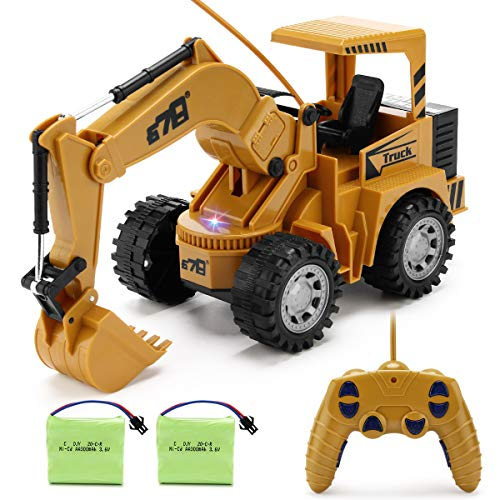 Remote Control Excavator Toy for Beginners - 4WD 5 Channel 1:24 RC Construction Excavator with LED Light, Pretend Construction Playset, Vehicle Toys for Boys Girls, Best Gifts for 3-6 Years Old Kids