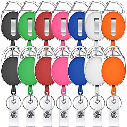 14 Pack Retractable Badge Holder Viaky Mixed Colors Carabiner Badge Reel with Clips for Key product image