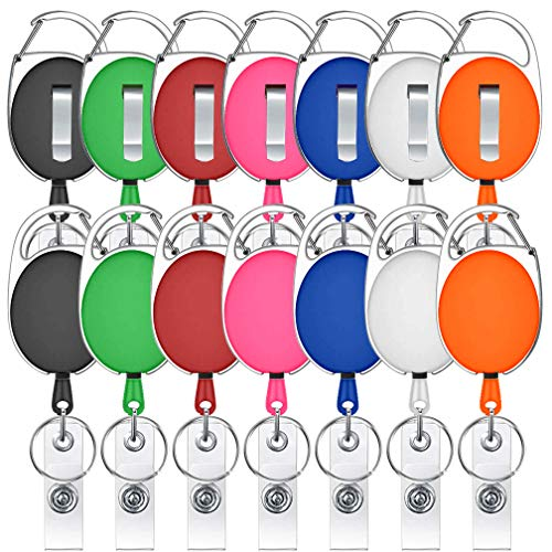 14 Pack Retractable Badge Holder Viaky Mixed Colors Carabiner Badge Reel with Clips for Key Ring and ID Cards(7 Colors)