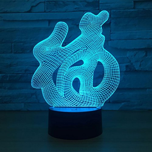 RFVBG 3D LED Night Light for boys, Illusion Lamp Light Up Arcylic 7 Colors Changing Beside Table Decor Lamp Touch Switch USB Charger, Perfect Birthday for Kids and Room Decoration
