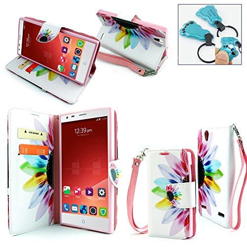 ZTE Warp Elite N9518, Customerfirst - Flip PU Leather Fold Wallet Pouch Credit Card Case for Warp Elite N9518 - Includes Key Chain (African Violet)