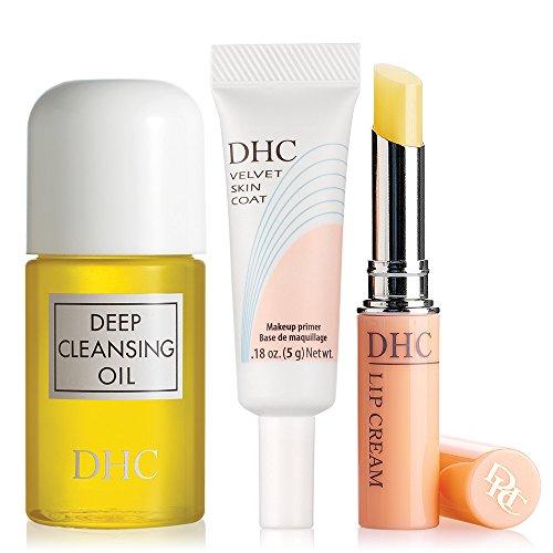 DHC Travel Essentials, includes Deep Cleansing Oil Mini 1 fl. oz., Velvet Skin Coat Mini .18 oz., and Lip Cream .05 oz.