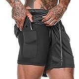 Men's Basketball Shorts for Men Long Length 7 in Inseam Running Pants Fast Dry Black