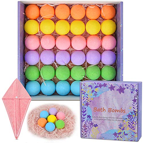 36 Organic Bath Bombs Gift Set, Natural Mini Handmade Bath Bombs for Women, Girls, Men, Kids Safe...