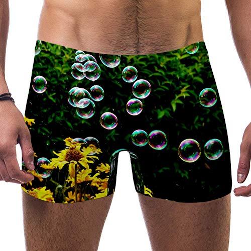 LORVIES Zeep Bubbles Bloemen Mannen Zwem Boxer Briefs Korte Vierkante Been Badpak Snelle Droge Zwemkleding, S