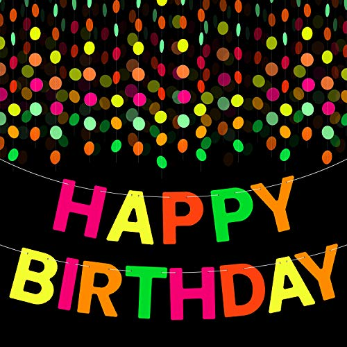 WATINC UV Reactive Birthday Party Decoration Neon Banner Pack Include 29ft Neon Paper Garland 18ft Happy Birthday Banner Circle Dots Hanging Decor Favors for Glow in Dark Party Black Light Party