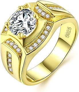 Borong Anillo Oro Hombre joyería de Moda de Boda y Compromiso Anillos de Sello de Bandas con Chapado en Oro Regalo de Promesa y eternidad para el Marido