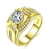 Gold Ringe Herren M?nner Modeschmuck Verlobungsringe Hochzeit Siegelring Band Ring mit Vergoldet Jahrestag Versprechen Geschenk f¨¹r Ehemann