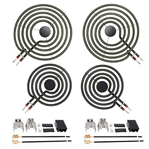 "AMI PARTS Stove Burners MP22YA Electric Range Surface Burner Coil Unit Set (2pcs MP15YA 6"" & 2pcs MP21YA 8"") with 2pcs 330031 Plug-In Block Kit Replacement Part"
