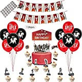 APEX Party Supplies - Party Decoration and Favors, Including 12 Balloons, a Happy Birthday Banner, a Cake Topper, 24 Cup Cake Topper, and 32 DIY Bullet Hole Stikers