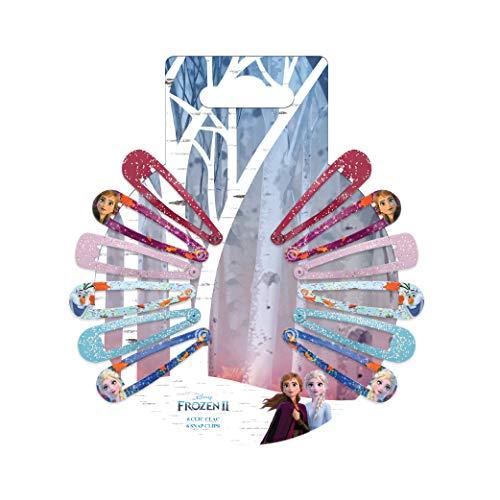 DISNEY - 2 accessori per capelli, motivo: Frozen, con lustrini, 12 pezzi