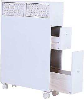 Smalle slanke rollende opbergwagen en organizer Badkamer houten kast Toiletvloer Rollende opslag Oraganizer met 2 laden, b...