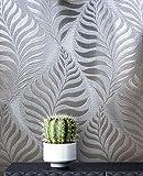 NEWROOM Blumentapete Tapete grau silber Blätter Zweige Floral Papiertapete grau Papier moderne Design Optik Tapete Blumentapete Glänzend Modern inkl. Tapezier Ratgeber