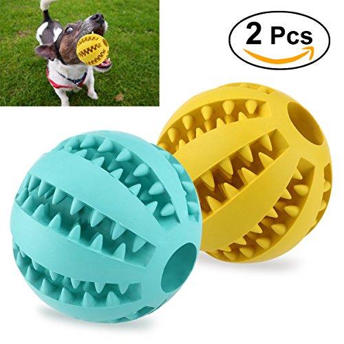 UEETEK 2pcs Juguete de goma masticar mascotas, Squeaker Squeeze Pet Ball juguetes,...