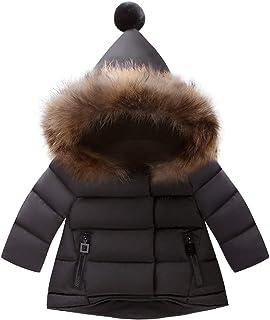 FYMNSI Maluch dzieci chłopcy dziewczęta puchowy płaszcz z kapturem kombinezon śnieżny zimowy ciepły futrzany kołnierz z ka...