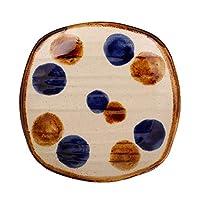 やちむん(沖縄陶器) 角取皿 点打 | 取皿 角皿 小皿 中城窯 (飴+コバルト)