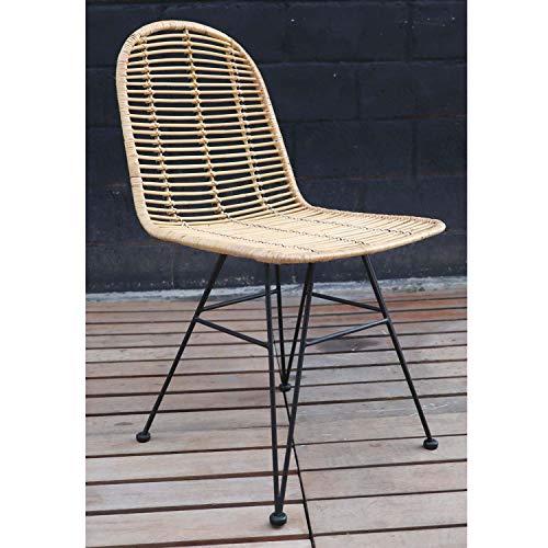 Casa Moro sedia in rattan naturale intrecciato a mano, 45 x 58 x 91 cm (L x P x A) | Premium qualità vintage | Sedia a cestello per cucina, giardino, terrazza, sala da pranzo | IDNS90