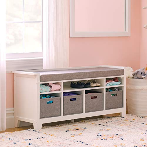 Martha Stewart Living and Learning Kids' Storage Bench - White: Wooden Toy and...