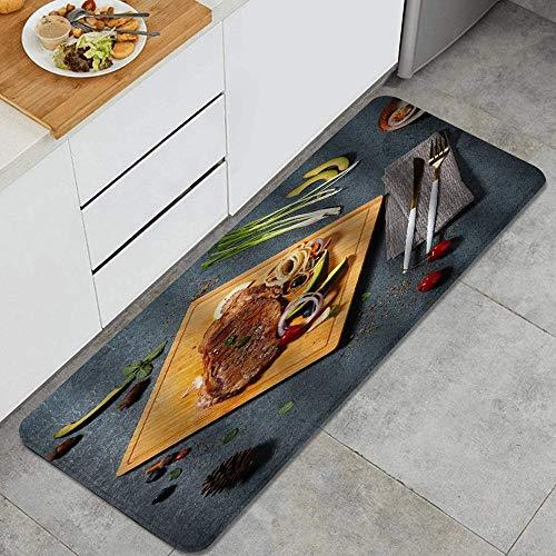 PANILUR Tappeto antiscivol,Bistecca Cucina Delicious Food Pasta Olive Cherry Fork Knife,da Usare Come zerbino o per Soggiorno, Camera da Letto, corridoio, Cucina