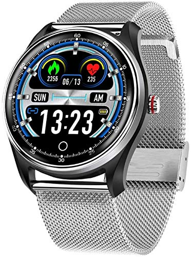 Reloj de pulsera inteligente, modo de ejercicio físico multifuncional, probabilidad de podómetro de calorías, monitoreo del sueño-Silver_Stahlstreifen
