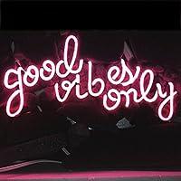 LiQi【GOOD VIBES ONLY 】ネオン 看板 NEON SIGN デザイン、省エネ、バー、オーム、カフェ、喫茶店、広告用看板、クラブ及び娯楽場所等(PINK)