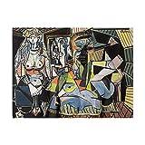 Famoso de Argel por Pablo Picasso Póster Mujer Desnuda Abstracta Arte de la Pared Cuadros Sala de Estar Dormitorio Picasso Lienzo Pintura Decoracion 40x60cmx1 Sin Marco