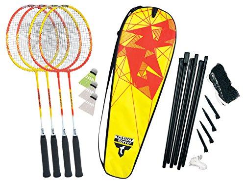 Talbot-Torro Premium Badminton-Set 4-Fighter, 4 Alu-Schläger leicht und handlich, 3 Federbälle, komplette Netzgarnitur, in wertiger Tasche, hochwertiges Federball Komplettset, 449508