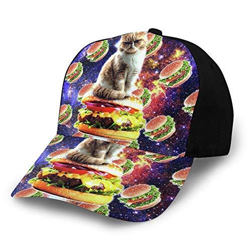 TYUO Unisex 3D Baseball Cap Hamburger Weltraum Katze auf Burger Lustige Mode Snapback Caps Trucker Hüte Hip Hop Hut Schwarz