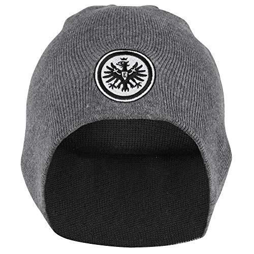 Eintracht Frankfurt Wendebeanie Logo, Beanie grau schwarz, Wintermütze, Mütze SGE - Plus Lesezeichen I Love Frankfurt