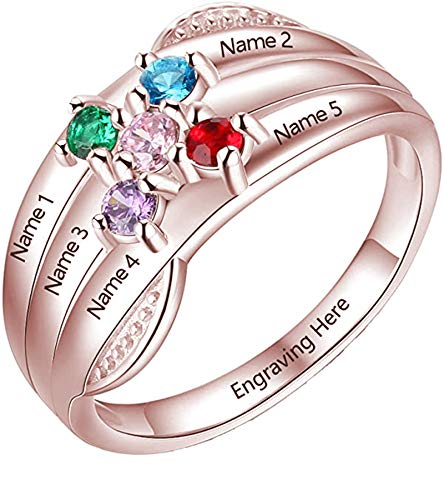 Personalized Sterling Silver Promise Rings for Her with 5 Name and 5 Simulated Birthstone for Women Best Friend Rings for Mother's Day Rings for Mom(5)