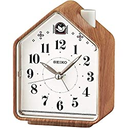 Seiko Bedside Beep Alarm or 2 Bird Songs Clock - Wood Pattern