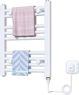 FREIHE Toallero eléctrico calentado, Toalla de Calentamiento Inteligente de Temperatura Constante montada en la Pared Estante de Secado de Ropa Radiador de baño, Acero con Poco Carbono 150w (Blanco)