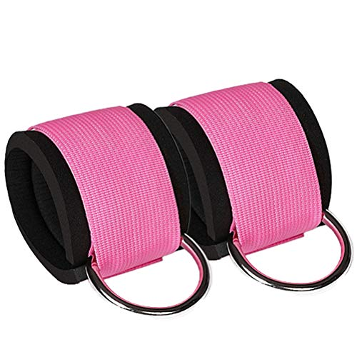 Amosfun 1 Pair Sports Binding Leg Buckle Fitness Training Equipment Foot Rings Portal Frame Leg Hip Strength Trainer Ankle Tension Rope Accessory for Gym (Pink)