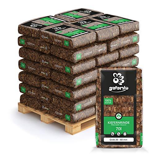 PALIGO Rindenmulch Mulch Garten Holz Dekor Rinde Borke Natur Pinus Sylvestris Wald Kiefer Grob 20-60mm 70l x 36 Sack 2.520l / 1 Palette Galamio
