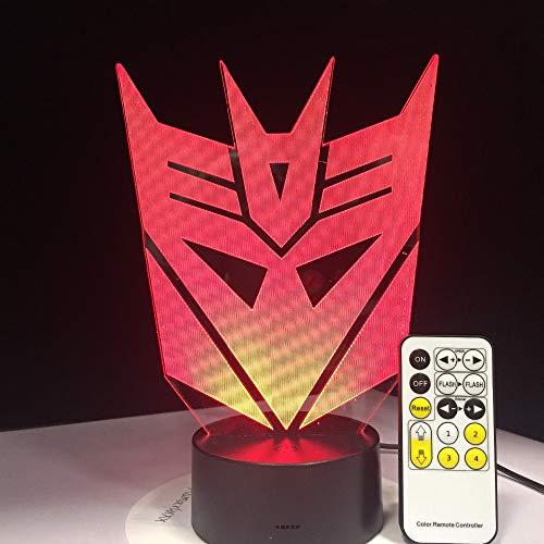 3D Illusie Lamp Transform Robot LED Nachtlampje met Afstandsbediening Nachtlampje 7 Kleur Veranderende Tafellamp met USB Opladen Gift voor jongen Meisje Verjaardag, Slaapkamer Nachtdecoratie