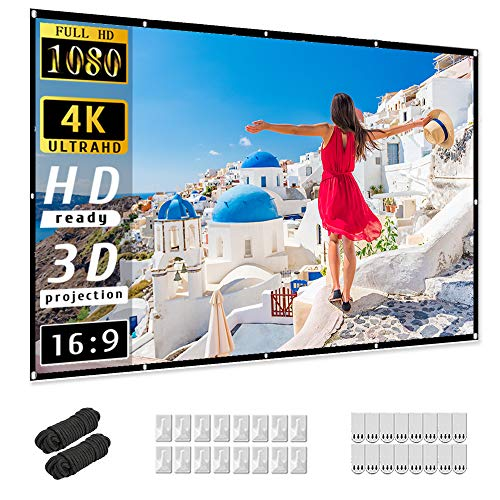 120 inch Projector Screen, Taotique 4K HD 16:9 Portable Video Projector Screen Foldable Anti-Crease Indoor Outdoor Projection Double Sided Movie...