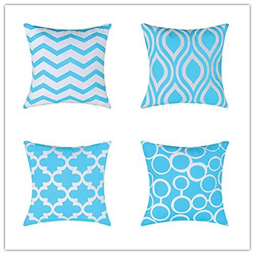 Pack de 4 Funda de Cojine Azul Zafiro Cuadrado Cushion Cover Decoración Algodón Lino Lanzar Funda de Almohada Caso de la Cubierta Cojines para Sofá Decorativo 26 x 26 Inches 65 x 65 cm X4238