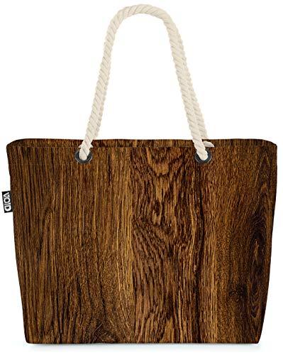 VOID Holz Oberfläche Strandtasche Shopper 58x38x16cm 23L XXL Einkaufstasche Tasche Reisetasche Beach Bag