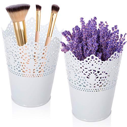 Makeup Organizer,2 Stücke Kosmetik Organizer zum Aufbewahren,Make up Pinsel Halter,Dekorative Kosmetik Aufbewahrungsbox,Kosmetik Organizer zum Aufbewahren,Becher für Make up Pinsel (Weiß-2)