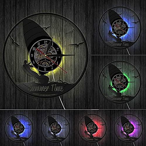 ZZLLL Surf Reloj de Pared con Disco de Vinilo de Verano Windsurf Diseño Moderno Reloj 3D de Surf Un Regalo para los Amantes del Surf con LED