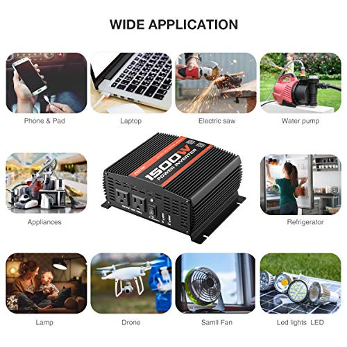 POTEK 1500W Power Inverter Dual AC Outlets DC 12V to 110 V AC Car Inverter with USB and Bluetooth