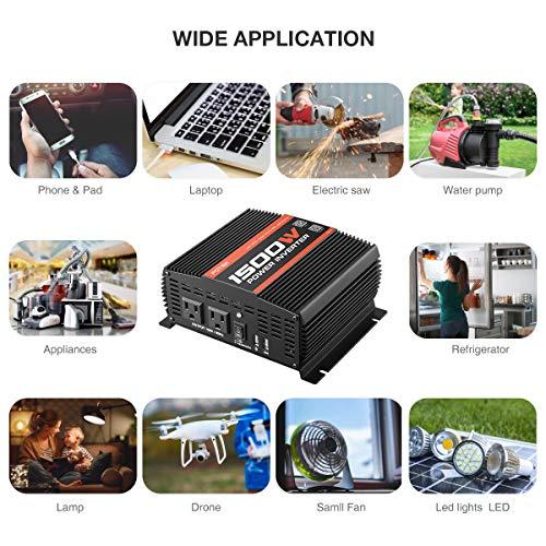 POTEK 1500W Power Inverter Dual AC Outlets DC 12V to 110 V Car Inverter with USB and Bluetooth