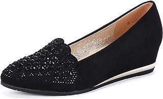 [OceanMap] 4cmウエッジソール ポインテッドトゥ パンプス レディース 痛くない 黒 大きいサイズ 脱げない ポインテッド ウェッジソール 靴 歩きやすい ローヒール 春夏 ウエッジヒール フラット パンプス 柔らかい 屈曲性
