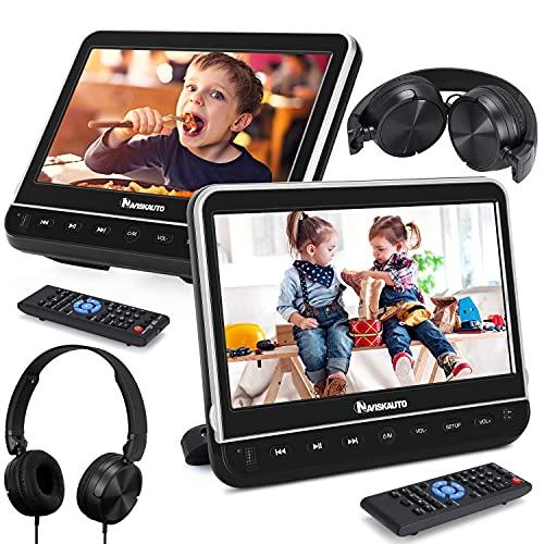 NAVISKAUTO Double Lecteur DVD Voiture Ecrans d'Appui tête 10,1 Pouce Equipé Casque (2 Lecteurs DVD) pour Enfant dans Voyage Supporte HDMI Input USB SD Région Libre avec Support de Montage