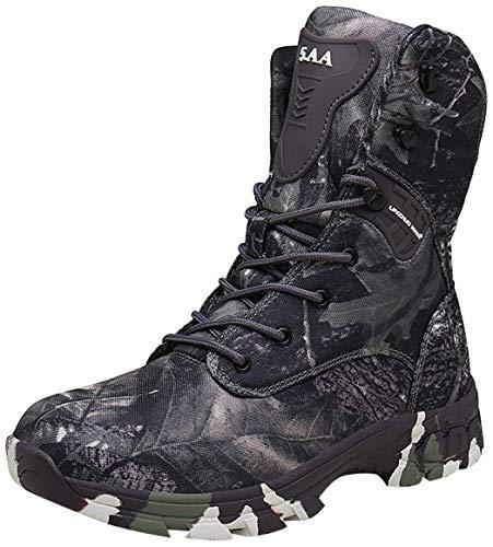 Doubjoy Bota de Caza para Hombres, Bota de Senderismo Transpirable de Altura Media para Exteriores Botas de Camuflaje Botas tácticas Q3 Zapatos de Camuflaje Botas Altas (43 EU,Gray)