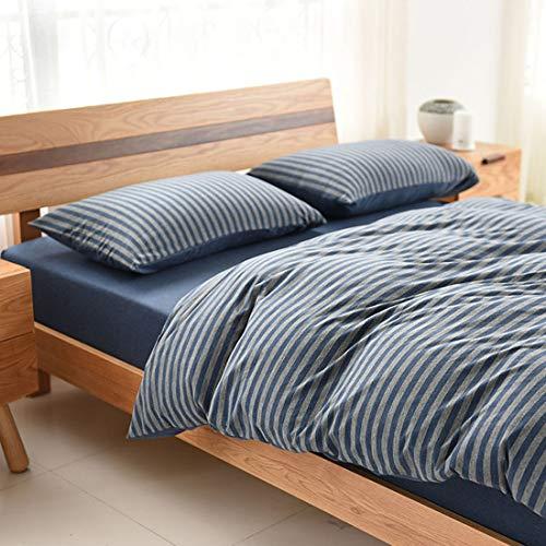 Teyun. Home Textile aus Reiner Baumwolle gestreifter Strick Bedding.Four-Stück (Color : Blue, Size : 200CM)