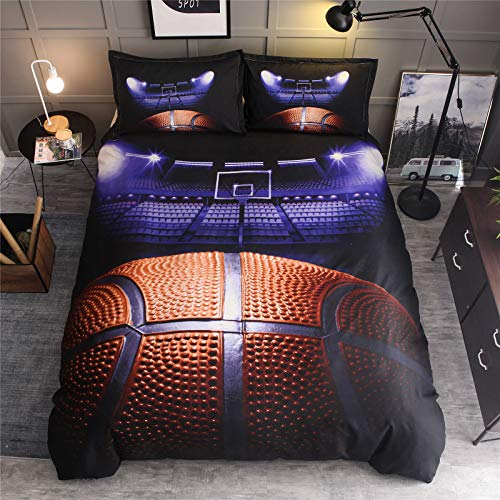 RENXR Basketball Pattern Duvet Cover Sets 3 Pcs Brief Style Sports Bedding Set Blue Flame Duvet Cover Set 3D Printing Comforter Cover with Zipper Closure,Queen