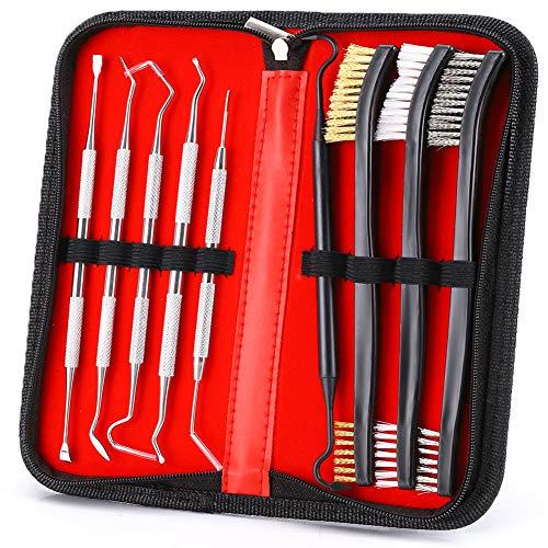 Accmor Gun Cleaning Brush & Pick Kit, Gun Cleaner Tool Set Including 3 Pcs Double-Ended Brass Steel Nylon Bristle Brushes, 5 Pcs Stainless Steel Pick & 1 Pcs Plastic Picks