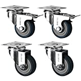 4 Swivel Heavy Duty GREY RUBBER 50mm (2 inch) Castor / Caster Wheels (2 x sta...